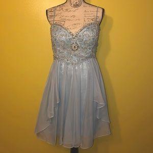 BLUE W/ SILVER & GOLD BEADED EVENING DRESS